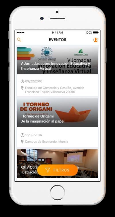 Listado de eventos en app móvil